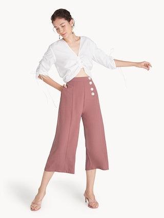 d86e7d242 Buttoned Center Seam Culottes - Pink - Pomelo Fashion