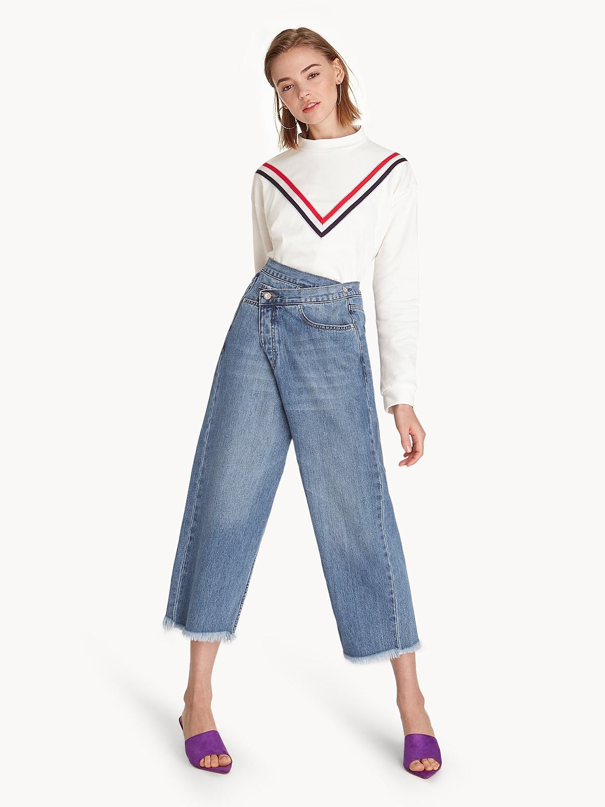 6414760cfb7 Side Buttoned Wrap Denim Culottes - Pomelo Fashion